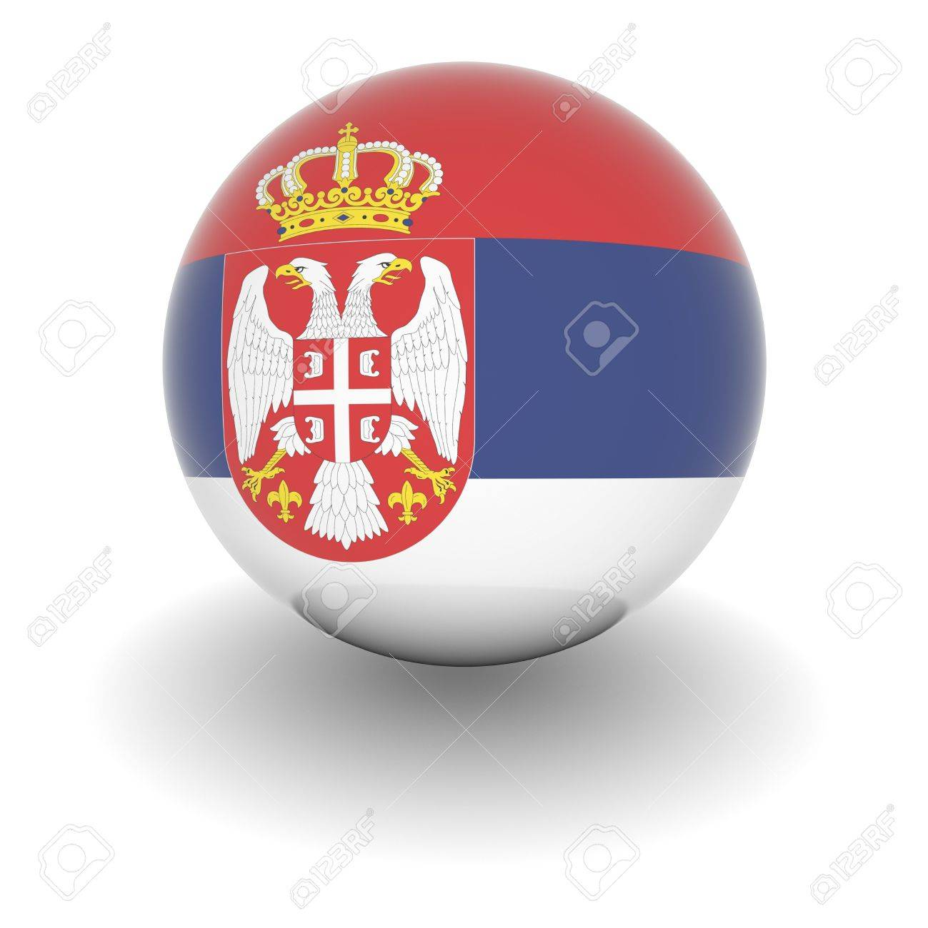 3D Ball with Flag of Serbia. High resolution 3d render isolated on white. Stock Photo - 5376610