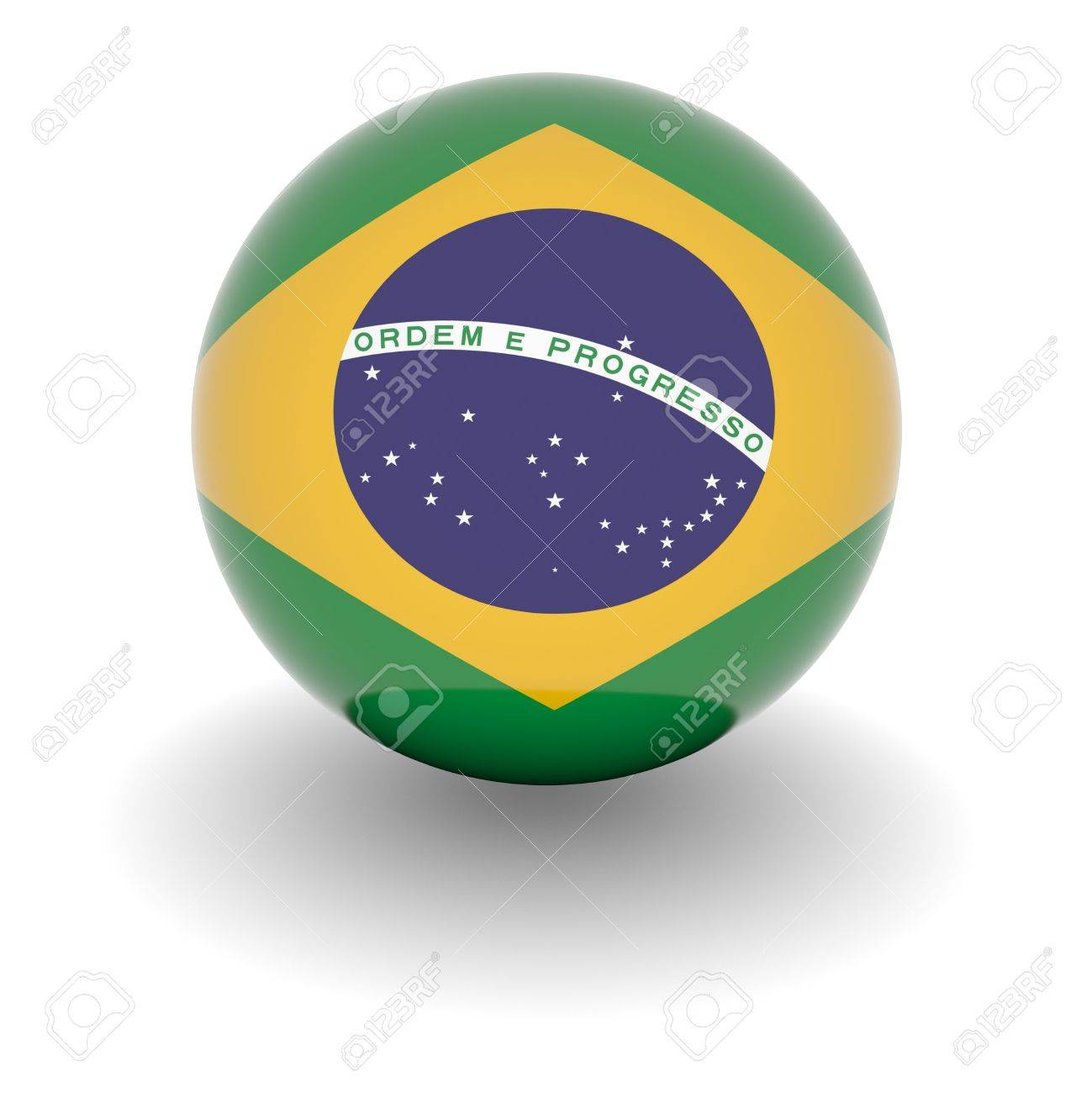 3D Ball with Flag of Brazil. High resolution 3d render isolated on white. Stock Photo - 5376502