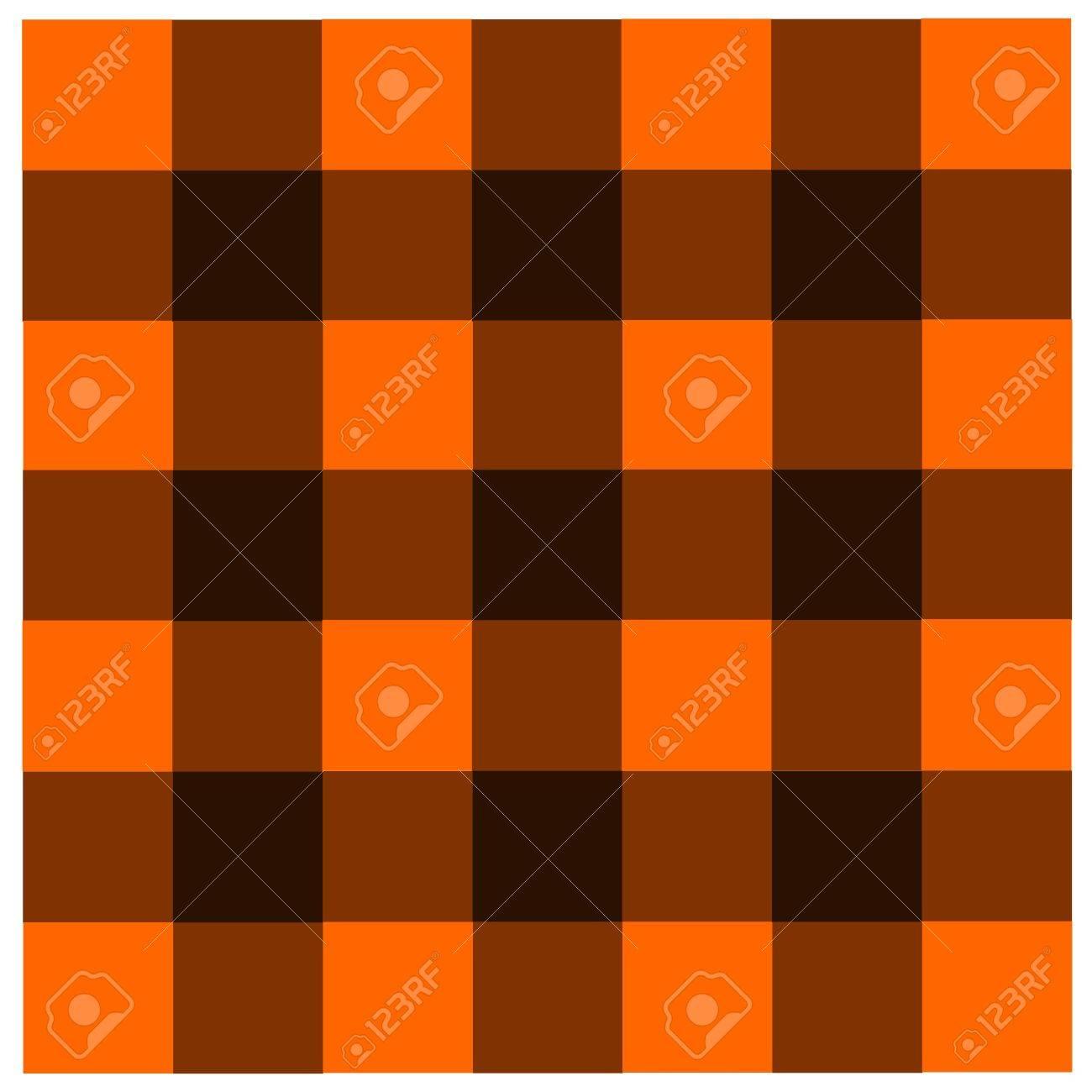 Orange Black Checkered Tablecloths Pattern Stock Photo   40704681