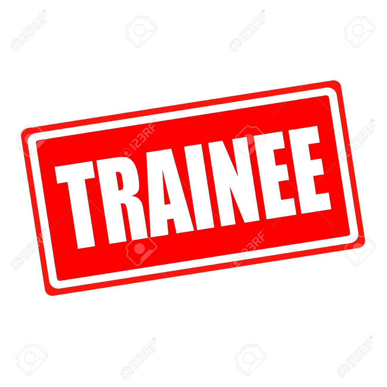 trainee white stamp text on red backgroud stock photo picture and