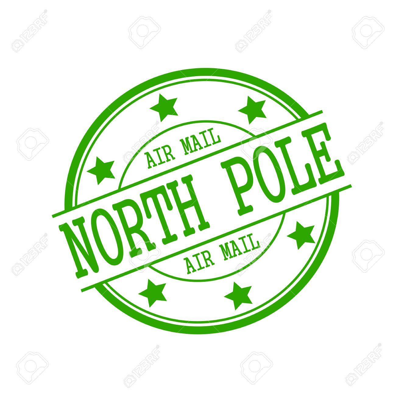 North Pole Air Mail Stamp Text On Green Circle A White Background And Star Stock