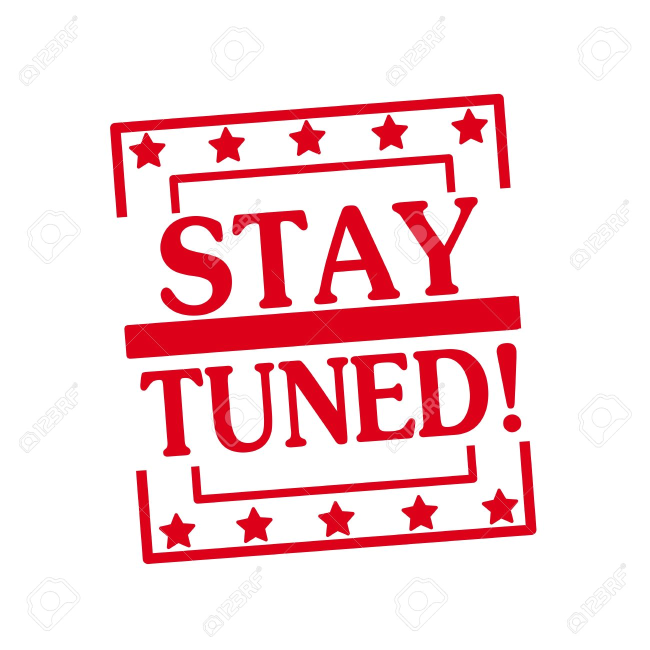 stay tuned red stamp text on squares on white background stock photo