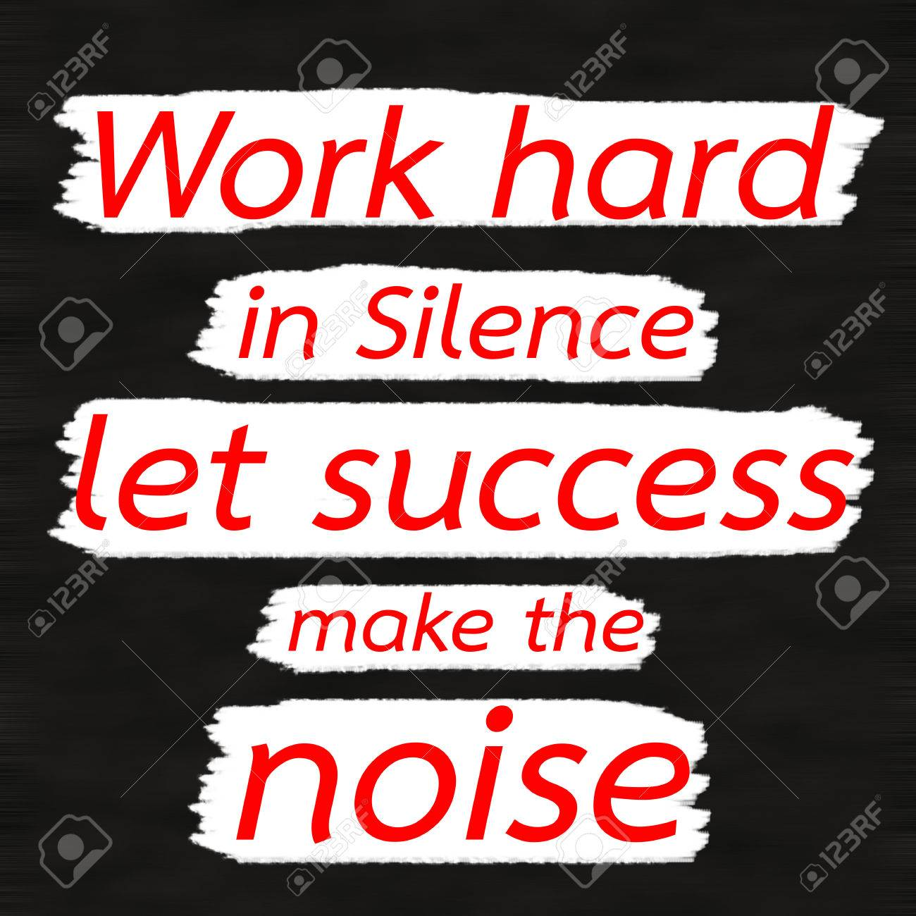 bfa383df066b Stock Photo - Work hard in Silence let success make the noise.Creative  Inspiring Motivation Quote Concept Red Word On Black wood Background.