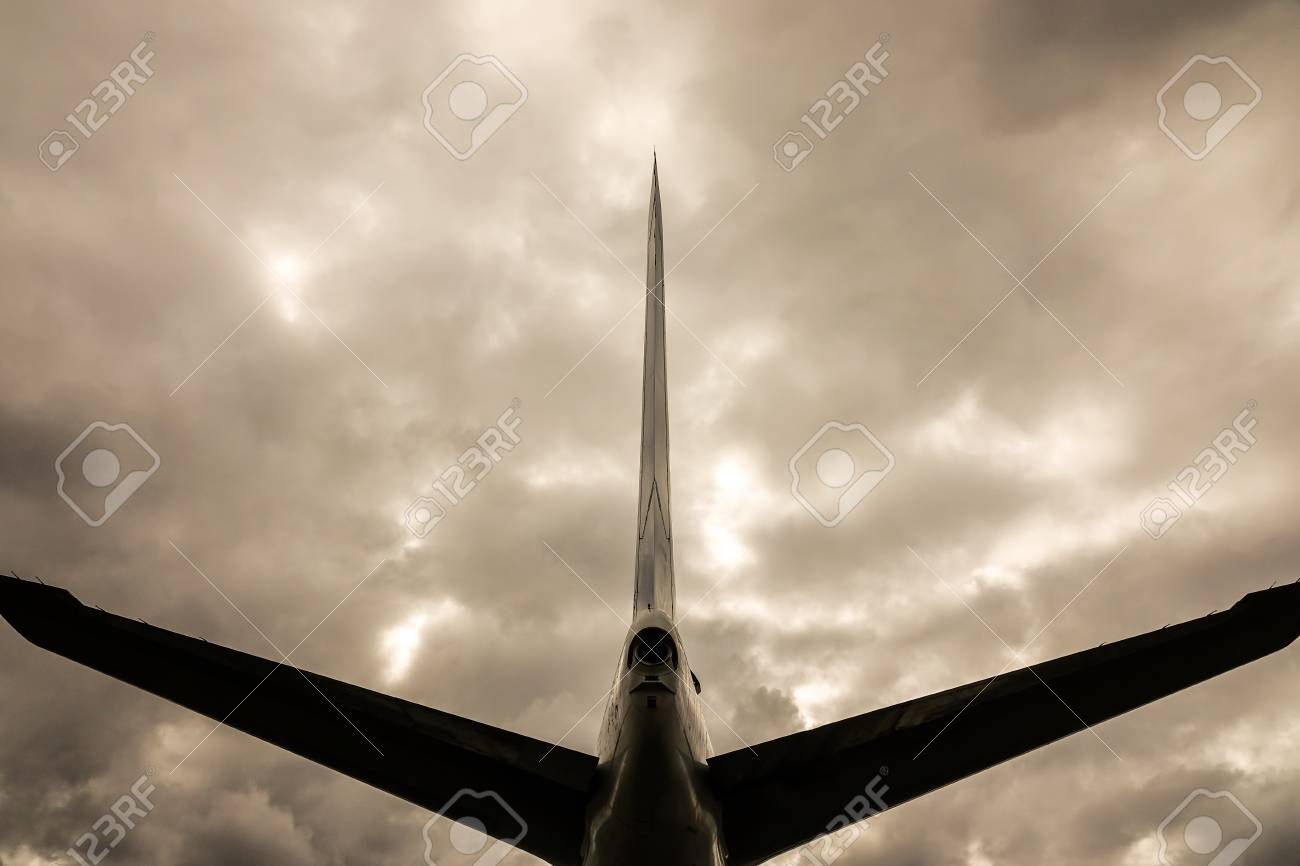 Dystopic image of the tail wing on a jet plane / aircraft  Concept