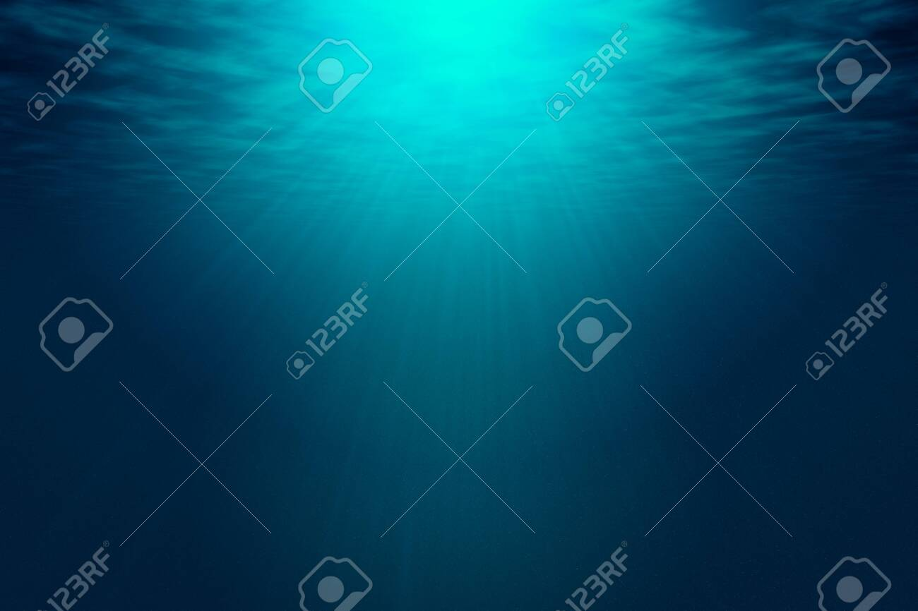 Deep blue sea with rays of sunlight, ocean surface seen from underwater. Background texture with copy space for text or product display. - 120689201