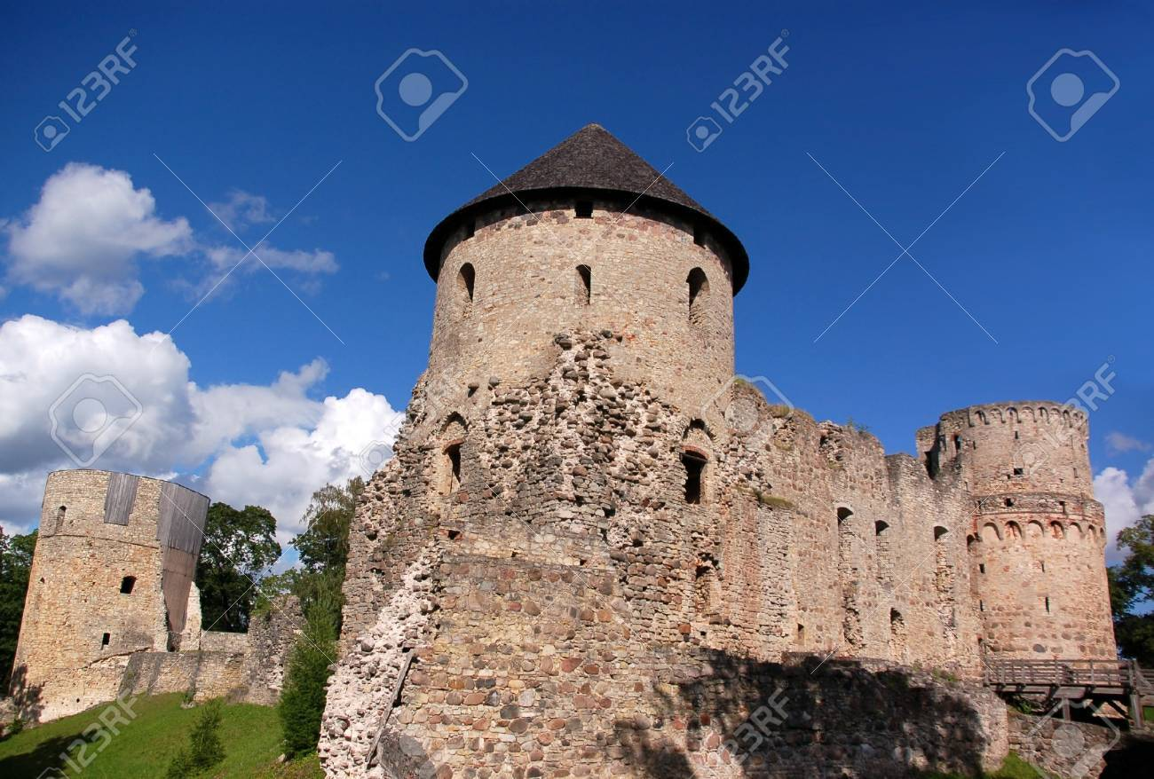 Ruins of the ancient castle in the Latvian city Cesis Stock Photo - 14840726