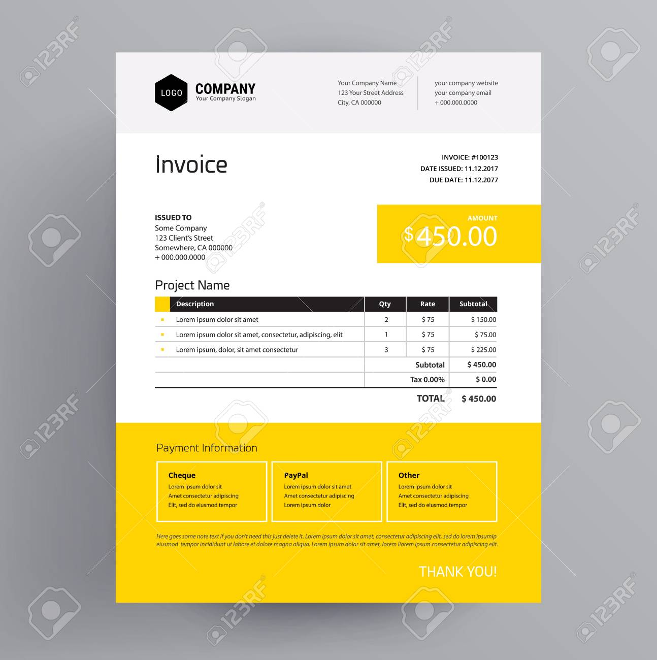 Invoice template design in yellow color us letter company invoice template design in yellow color us letter company bill creative business template thecheapjerseys Image collections