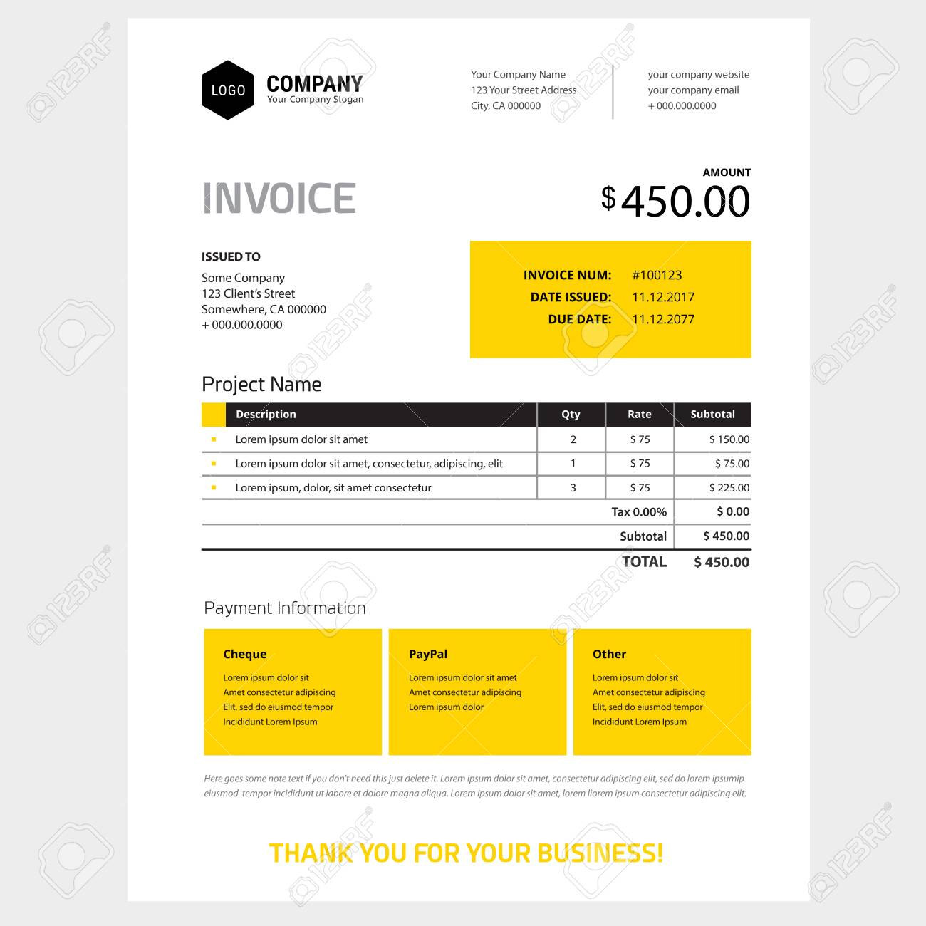 Invoice Form Design Template In Yellow And Black Color Scheme
