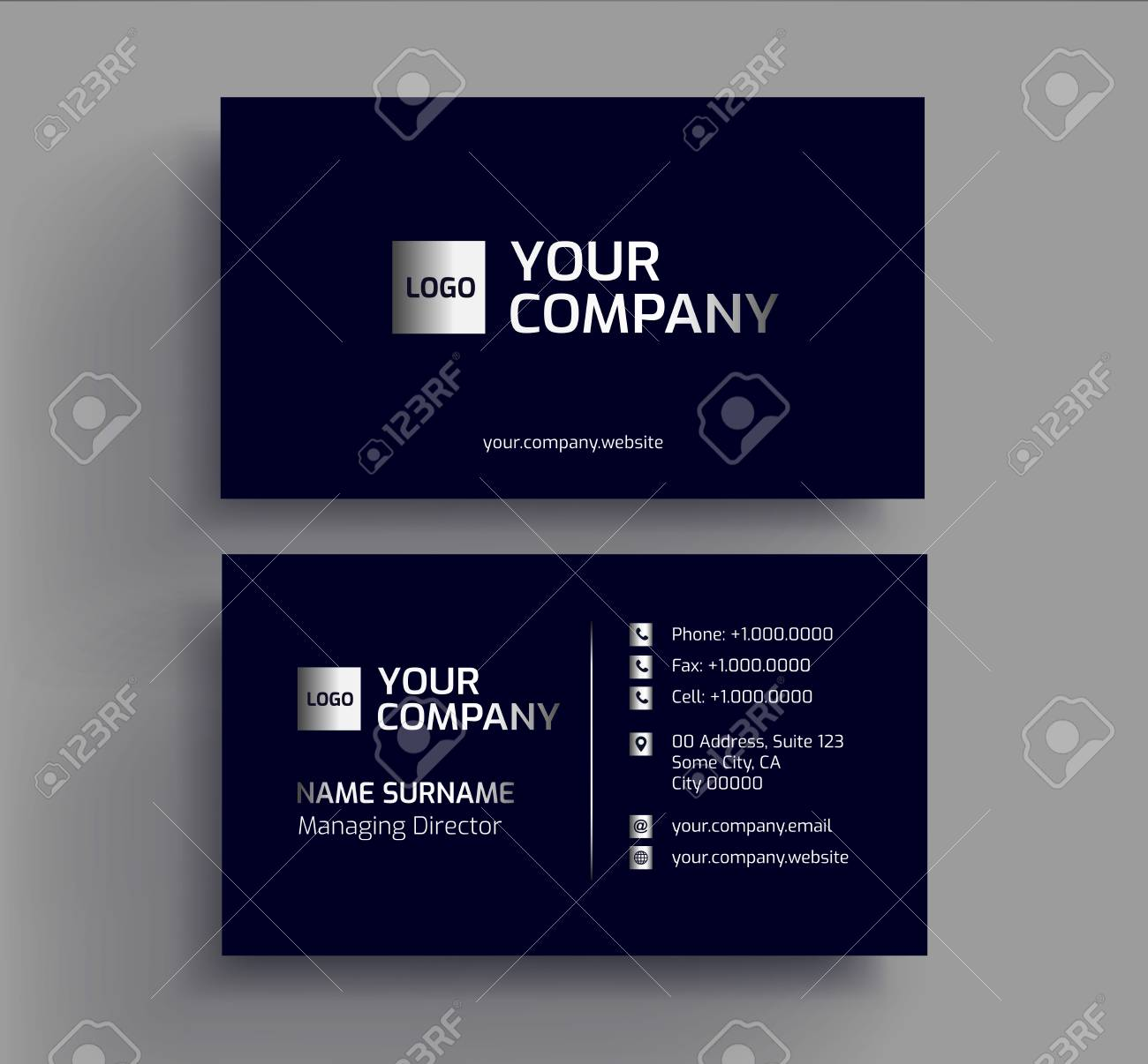 stylish dark business card design template black silver platinum