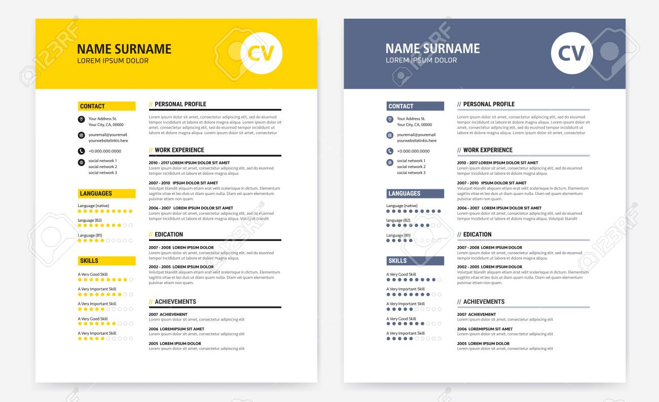 Cv  Resume Design Template Form Yellow And Dark Blue  Vector