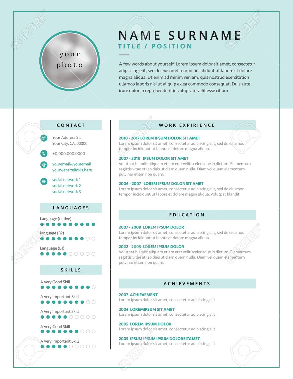 medical cv resume template example design for doctors white and teal color background curriculum