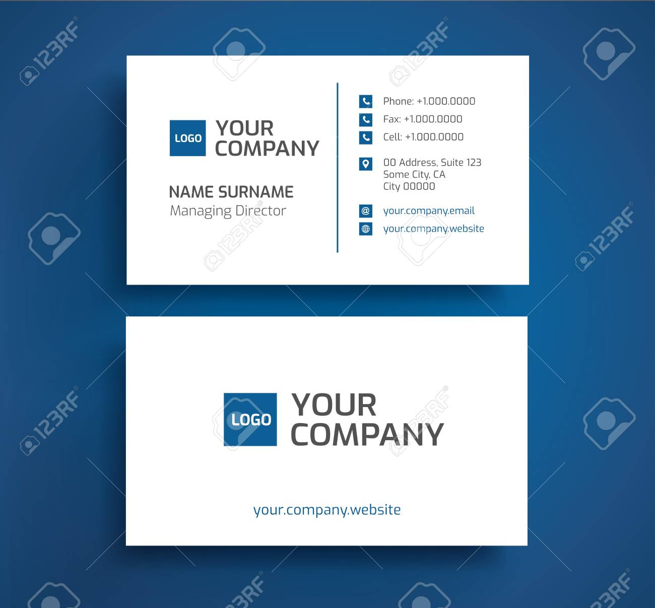 Stylish Business Card Template Vector Blue And White Color