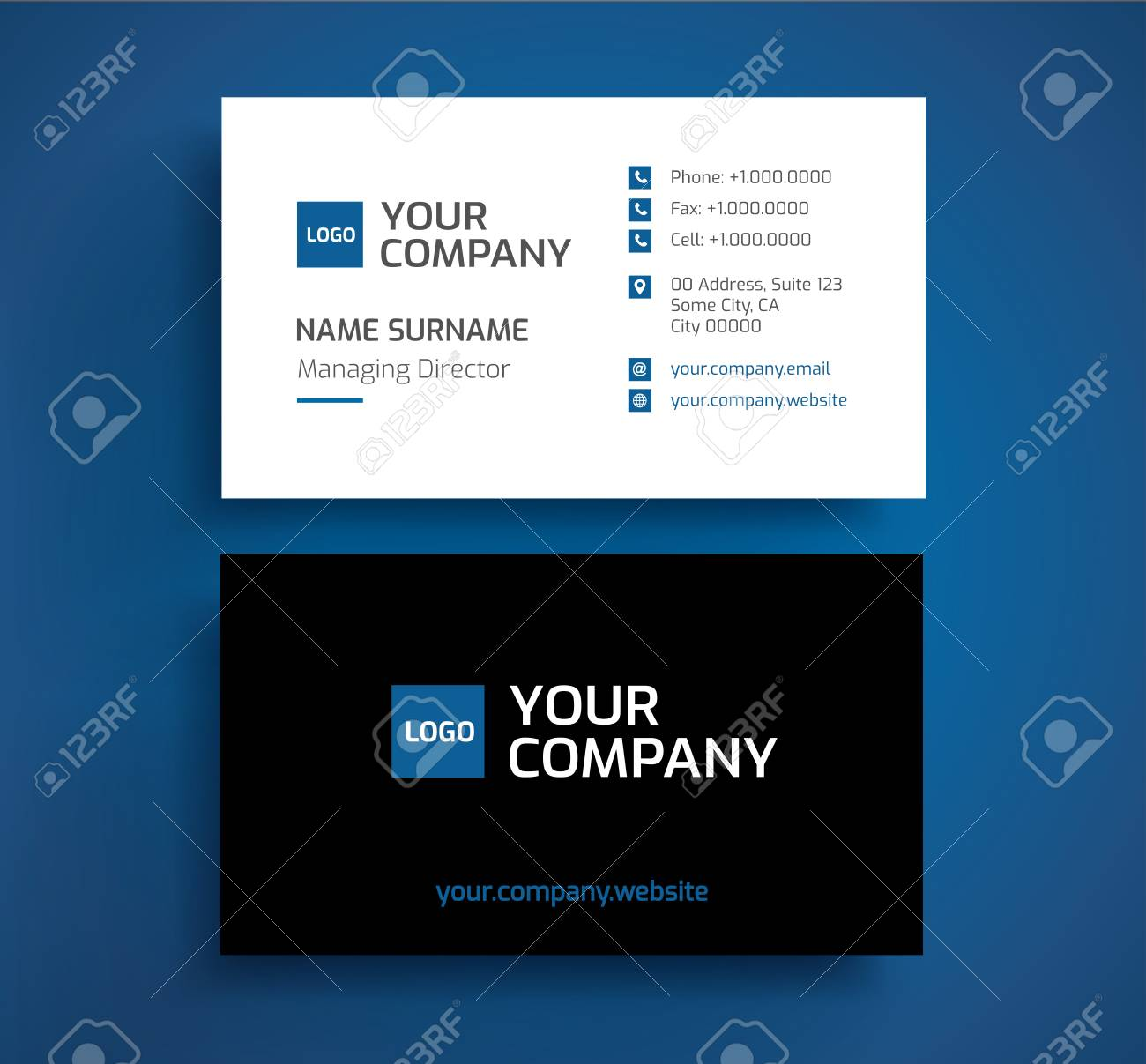 Stylish Business Card Template Vector Blue Black And White