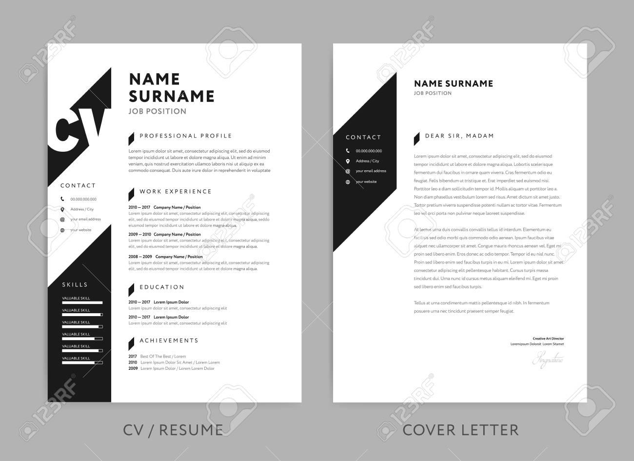 Minimalist Cv Resume And Cover Letter Minimal Design Black