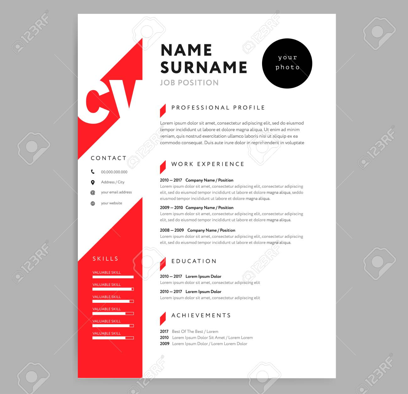 Creative Cv Resume Template With Red Color Background Vector Royalty Free Cliparts Vectors And Stock Illustration Image 97283376