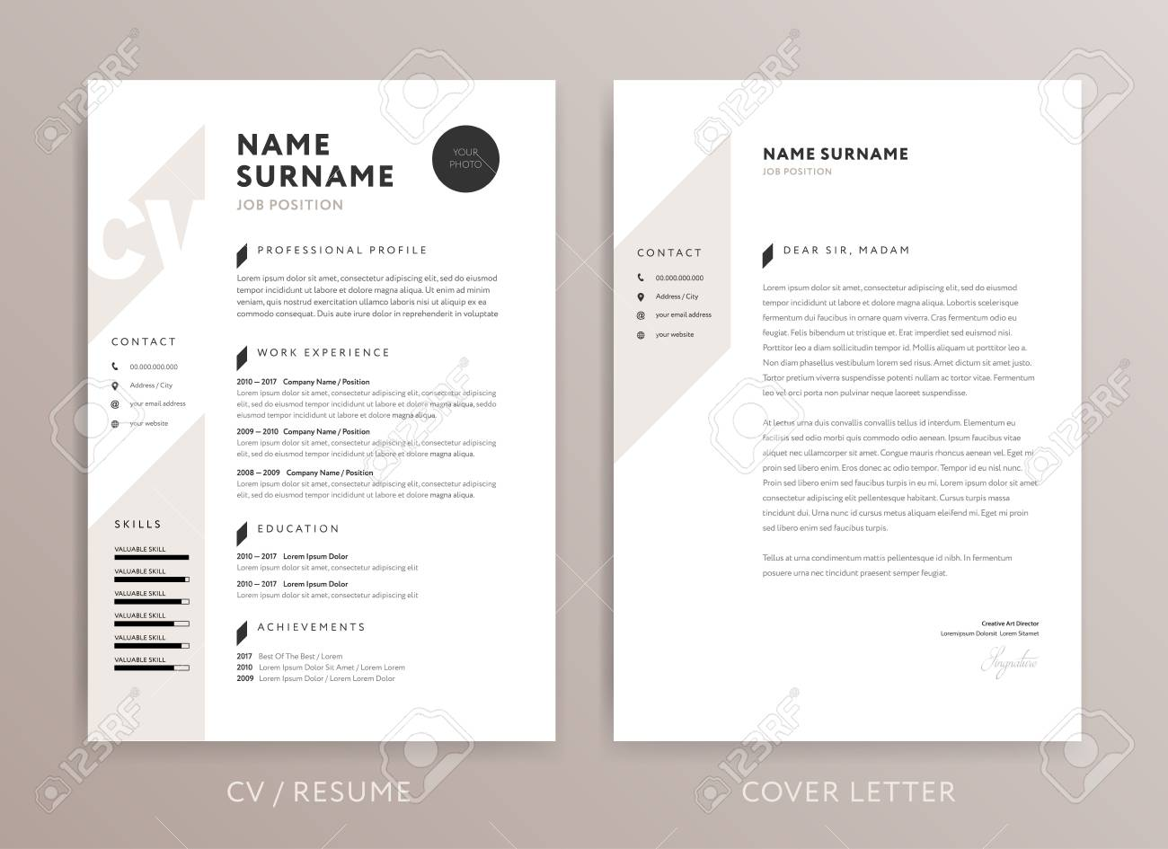 Stylish Cv Design Curriculum Vitae Cover Letter Template