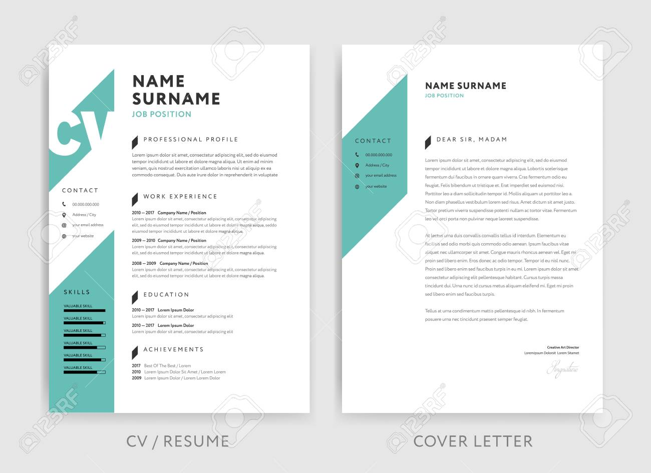 Creative Cv Resume Template With Teal Green Background Royalty Free Cliparts Vectors And Stock Illustration Image 97283391
