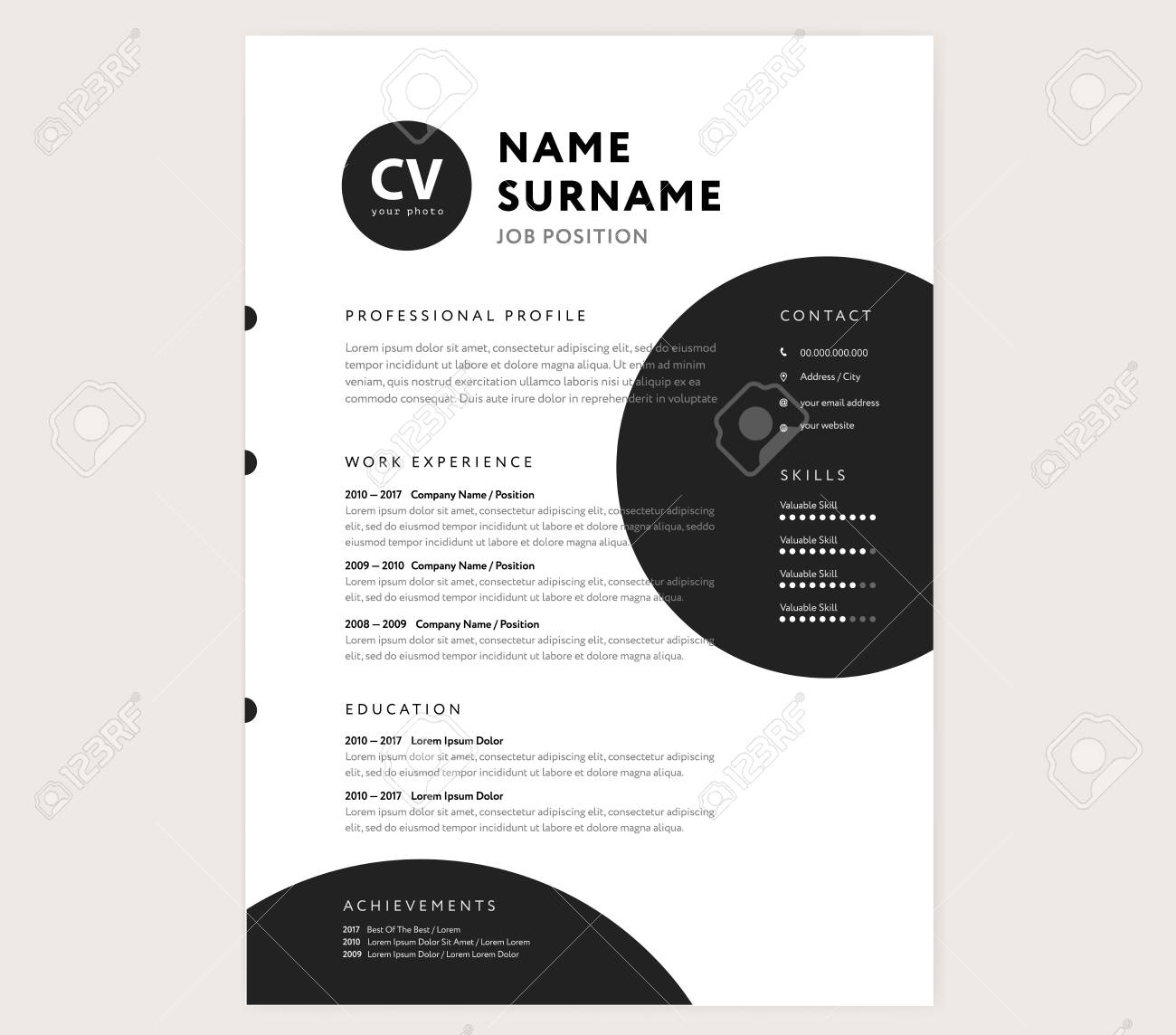 Cv Resume Template Creative Stylish Curriculum Vitae Design