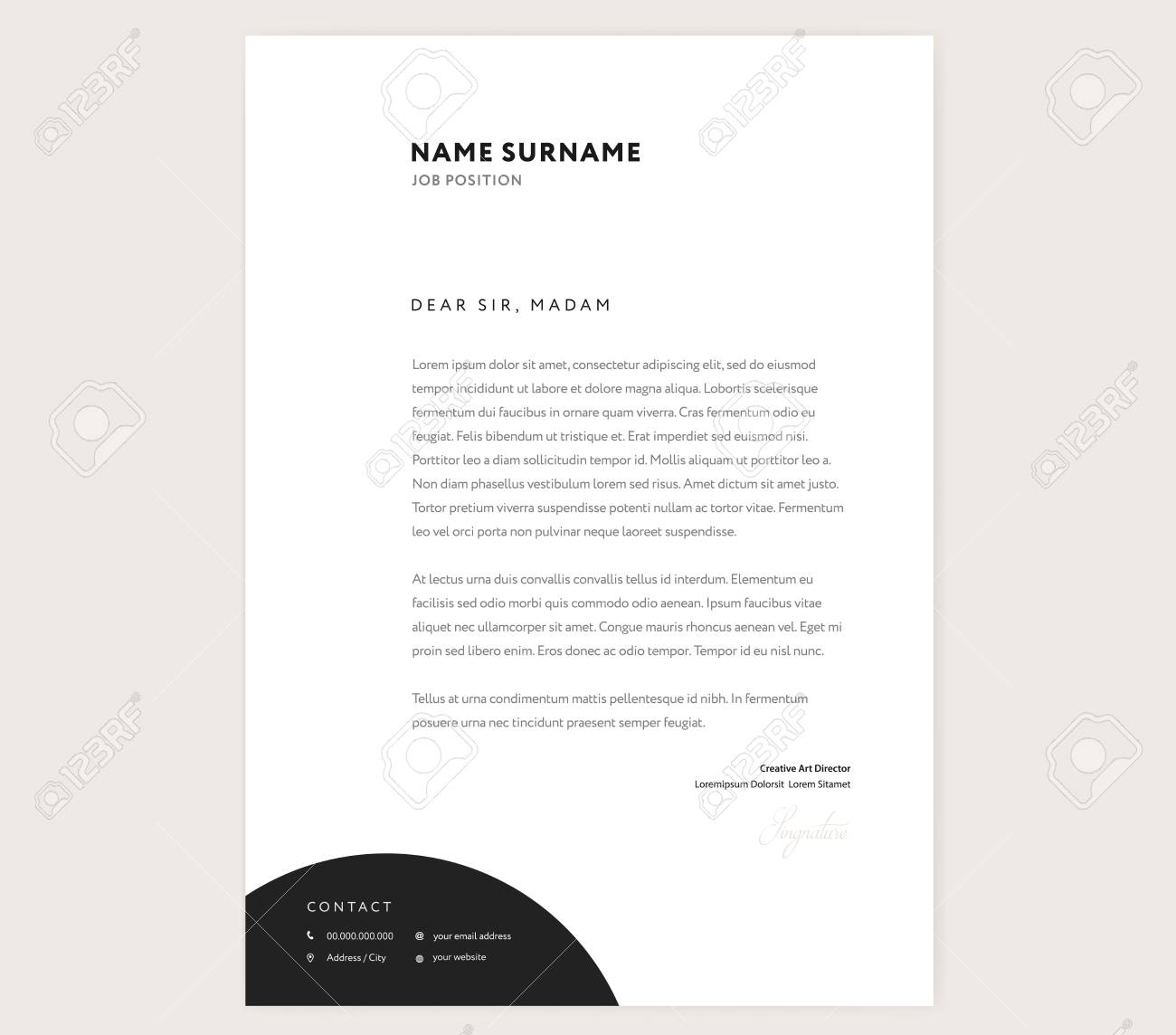 Elegant Letterhead Template Design In Minimalist Style With Icons Stock Vector
