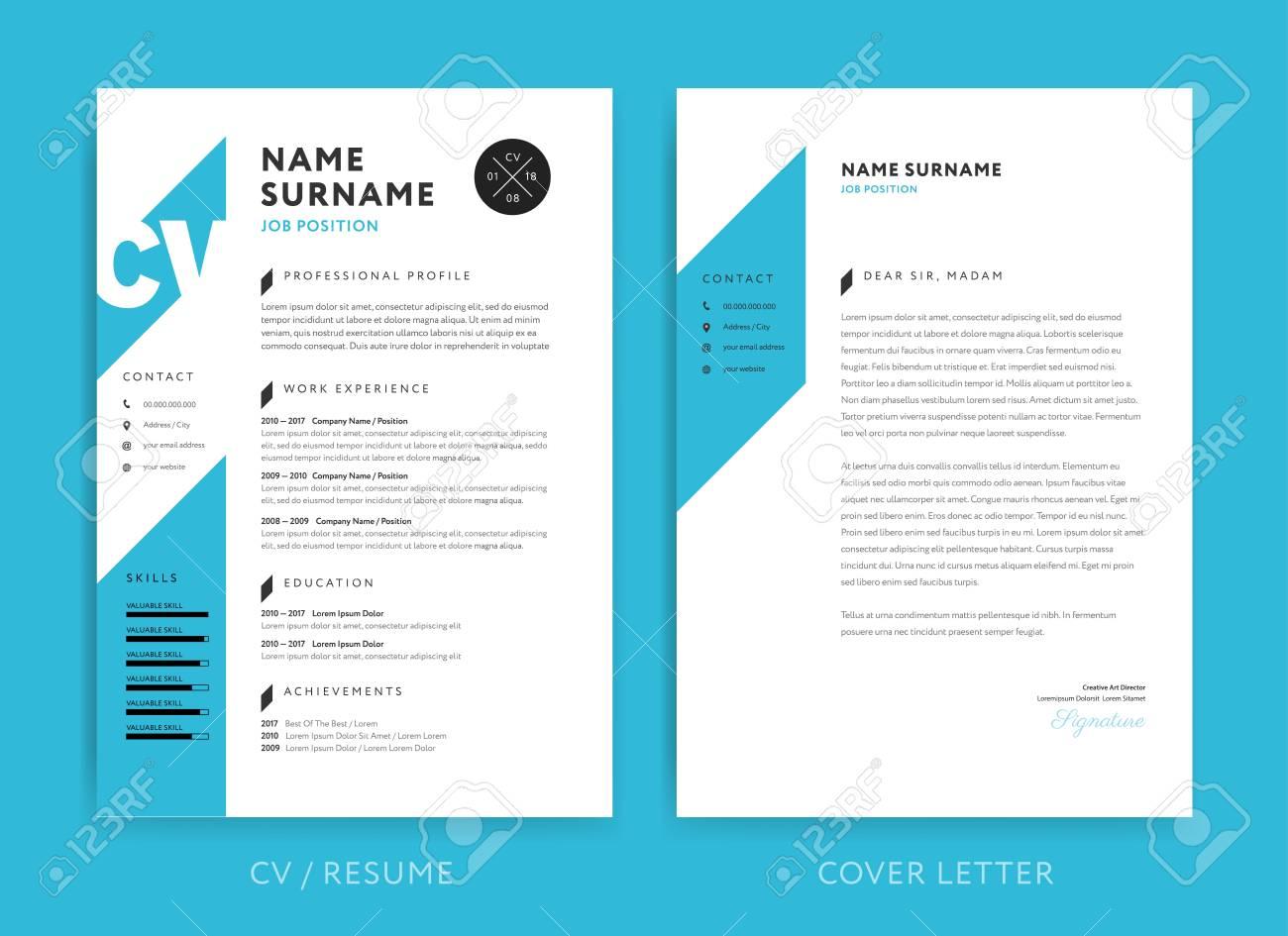 Creative Cv Or Resume Template Blue Background Color Minimalist