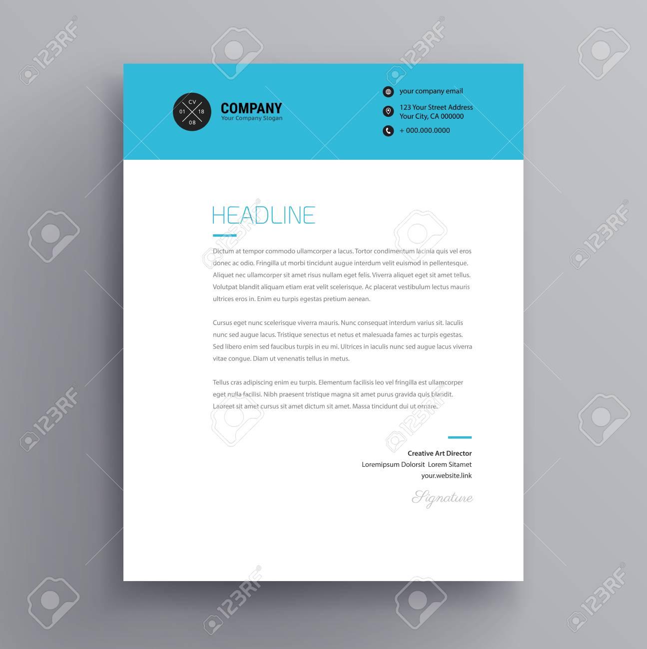 elegant letterhead cover letter template design in minimalist style blue color header vector