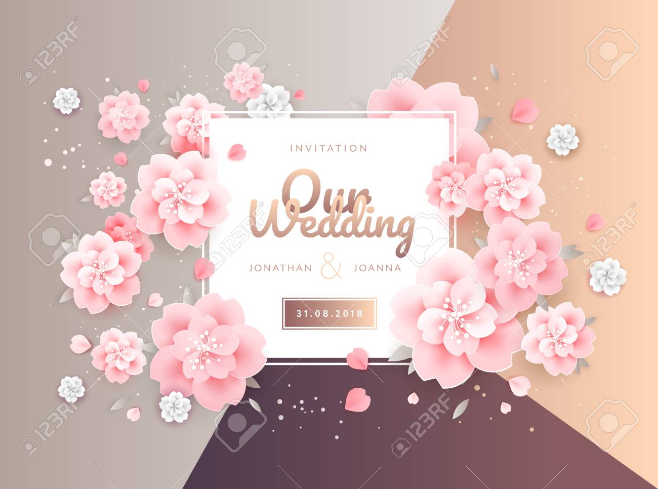 Wedding Invitation Card Background Template With Floral Designs