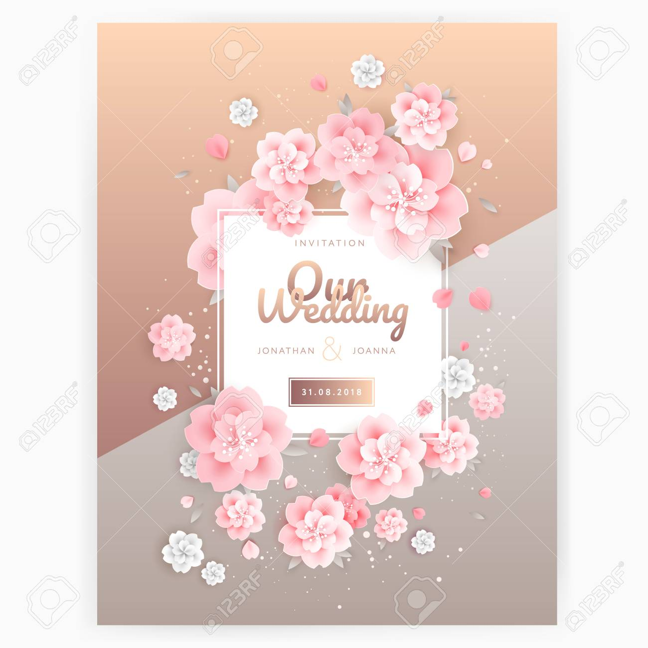 Wedding Invitation Card Background Template With Pink Floral