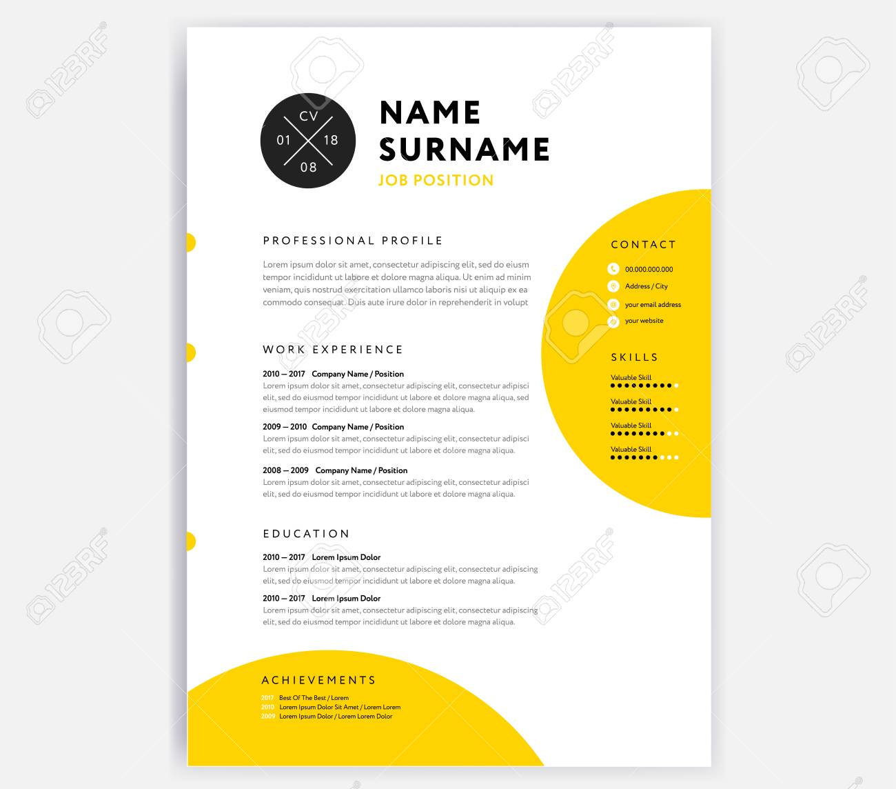 Yellow Cv Resume Template Curriculum Vitae Sample Vector Design