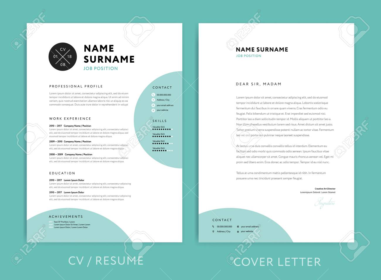 creative cv resume template teal green background color minimalist