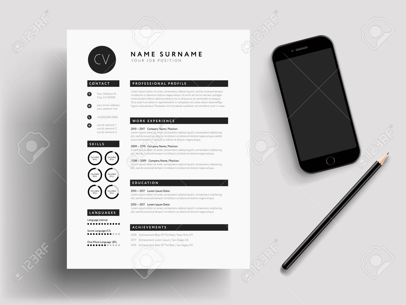 Professional CV Resume Modern Mockup Mobile Phone Pencil Stationary Job Search Illustration