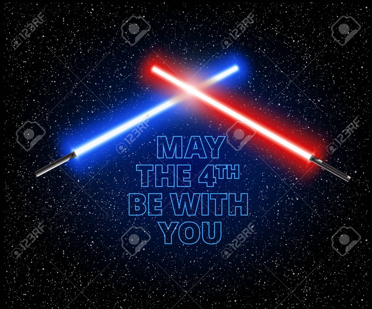 May the 4th be with you illustration with two crossed light swords - vector illustration - 98418275