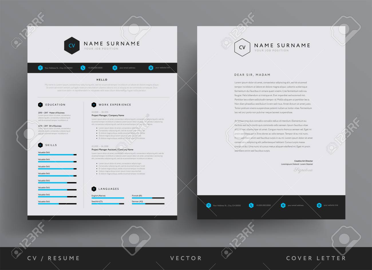 Professional Cv Resume Template Design And Letterhead Or Cover