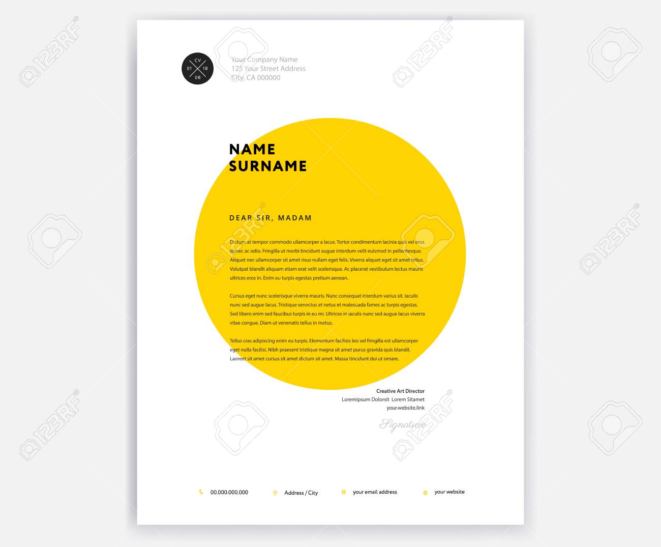 Creative Letterhead Template Design Yellow Cover Letter Vector ...
