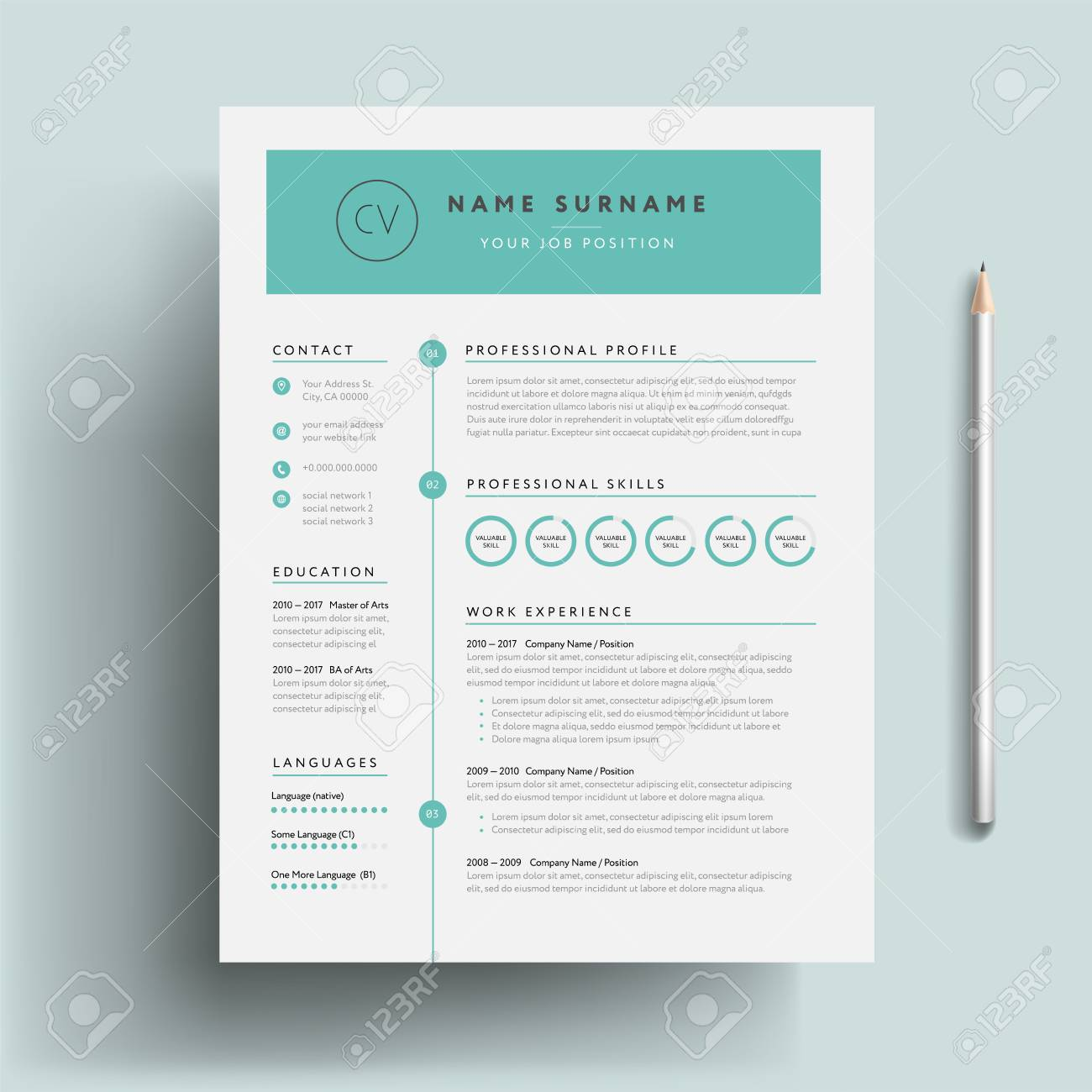 Creative CV or resume template teal green background color cool..