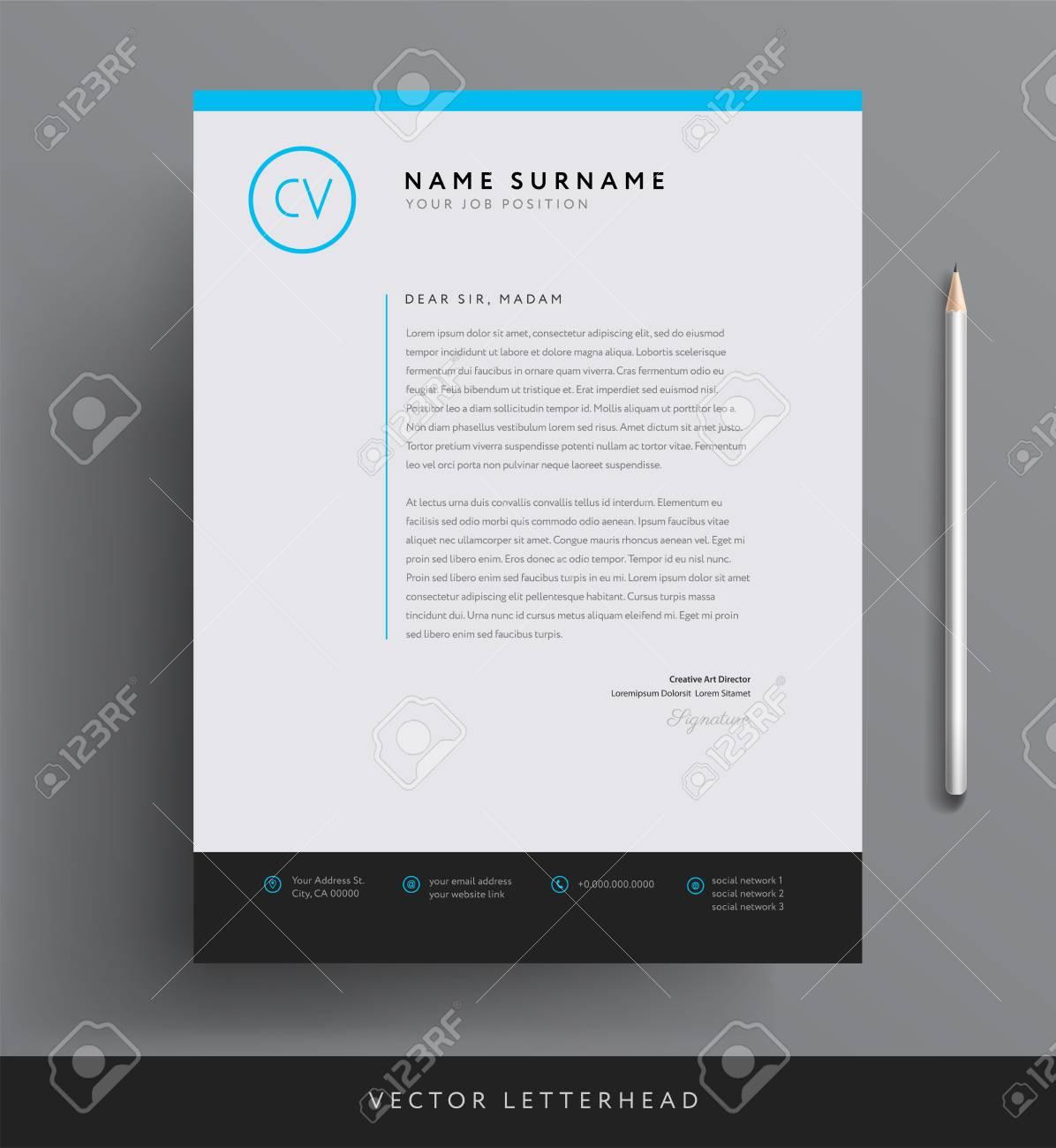 Elegant Letterhead Template Design In Minimalist Style Stock Vector