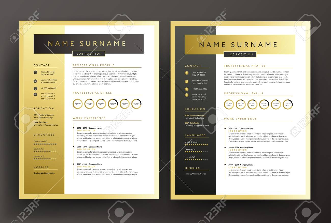 Expert Cv Resume Template In Black And Gold Colors Professional