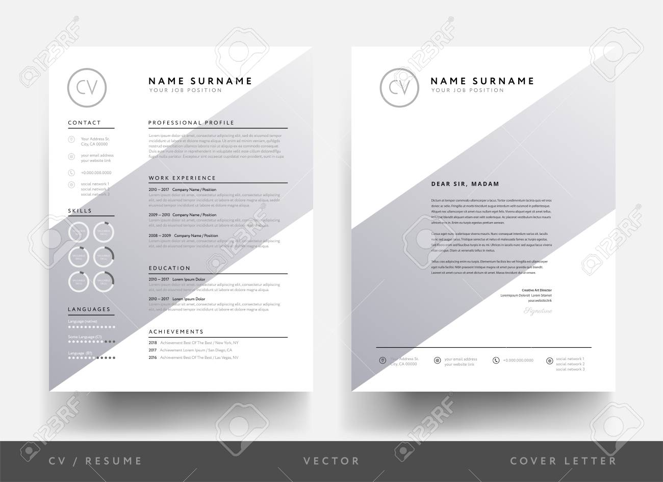 Resume And Letterhead Design Template Royalty Free Cliparts, Vectors ...