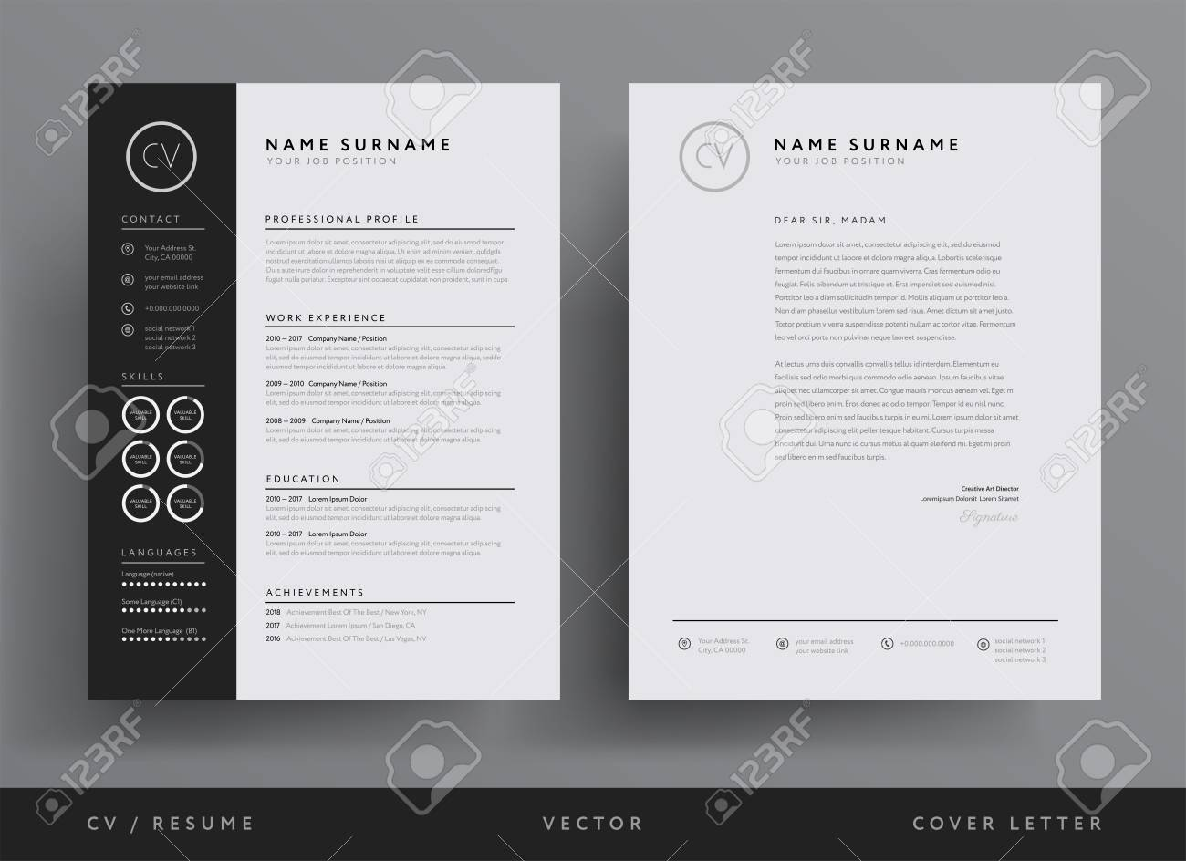 Professional Resume And Letterhead Template Design Royalty Free