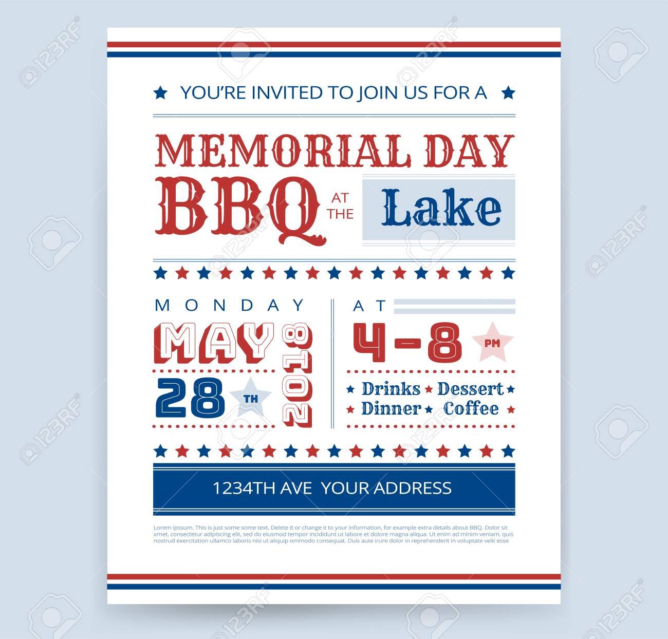 Memorial Day Barbeque Bbq Invitation Design Template Vector Barbecue