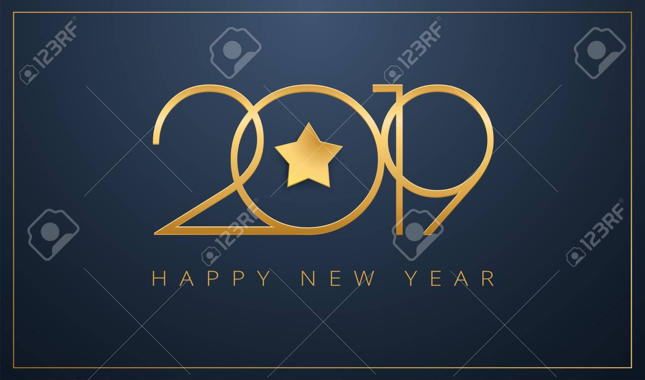 Sleek 2019 Happy New Year Greeting Card. Golden Star Design For ...