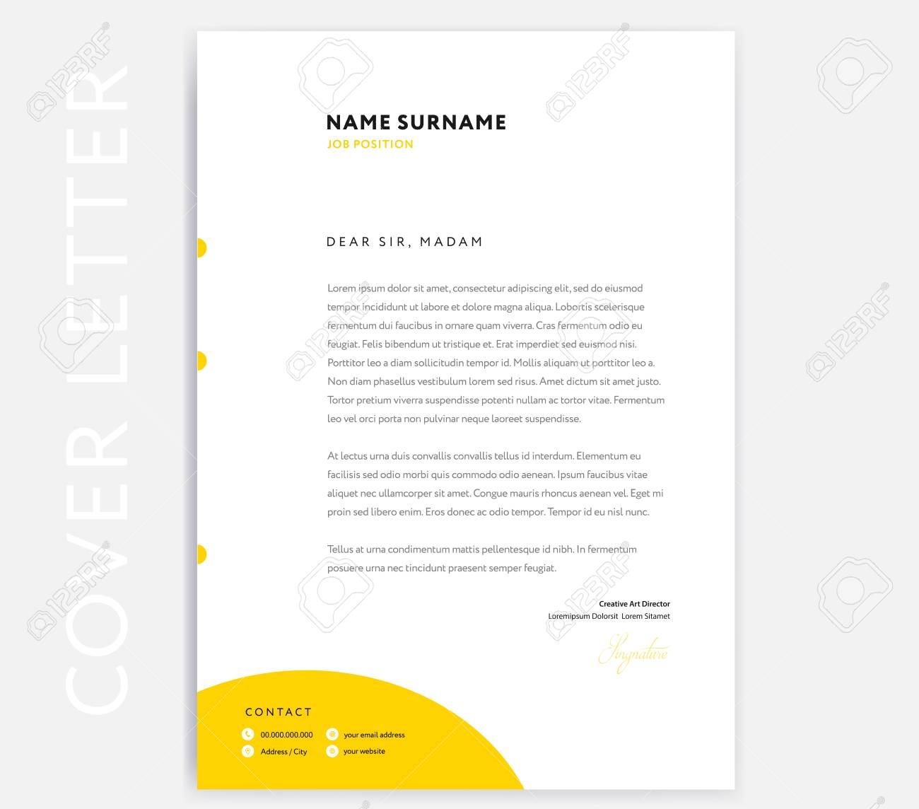 Yellow CV Cover Letter Template Design