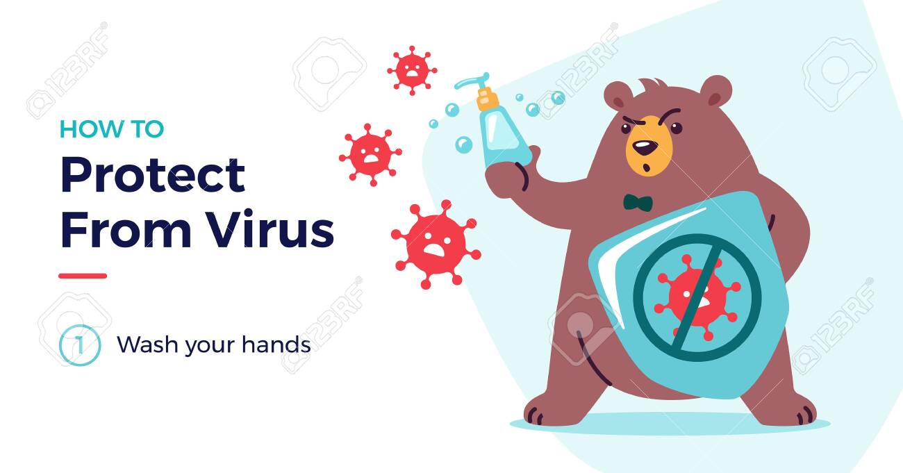 How to protect from virus vector illustration with a cute bear character. Protect from covid-19 virus for kids concept - children, wash your hands. Fight virus, defend from virus, avoid corona viruses - 146827612