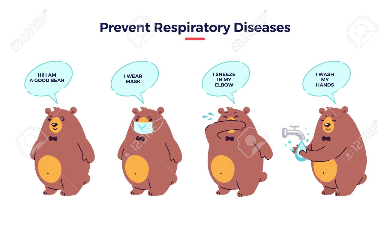 Illustration how prevent respiratory diseases. Correct sneezing and coughing into elbow, washing hands, wearing mask. Virus and infection prevention - flat vector illustration with bear character - 146827614