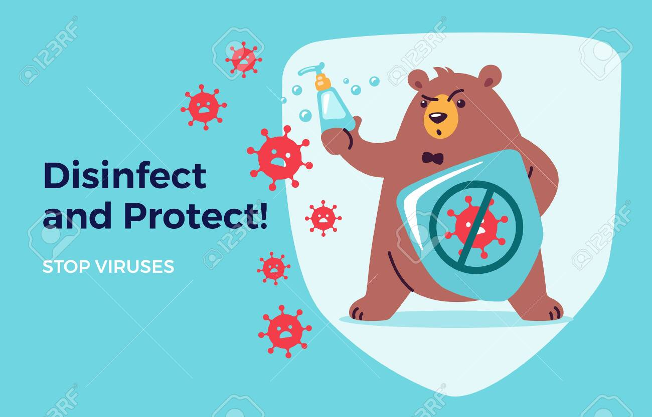 Disinfect, protect, stop virus concept for kids. Washing hands and using hand sanitizers. Cute bear cartoon holds shield and soap to fight and prevent virus. Medical health vector illustration - 146827615