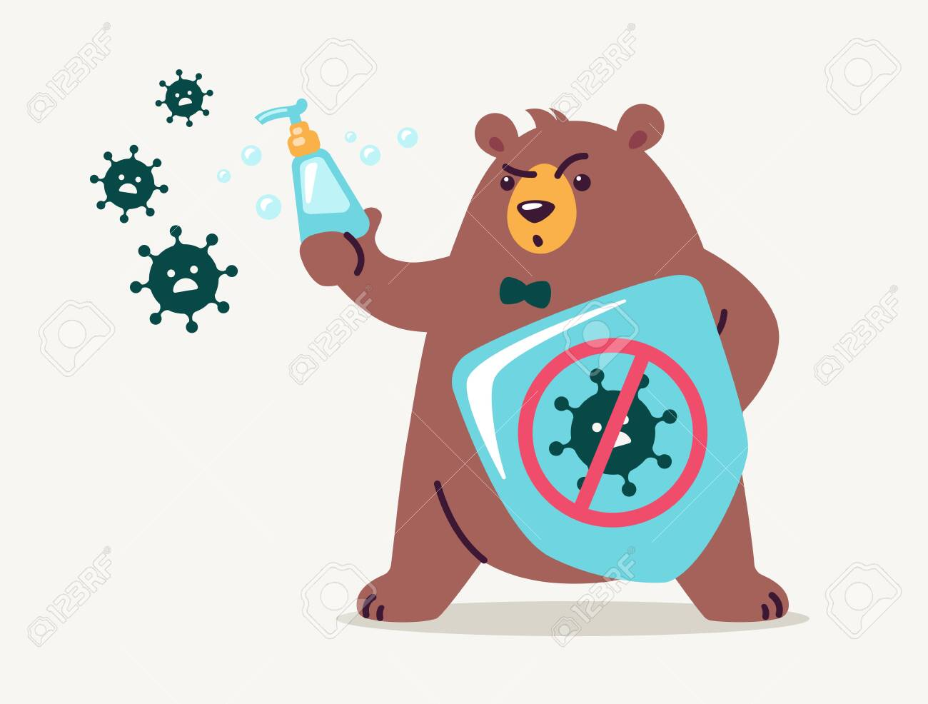 Virus infection prevention concept for kids - washing hands and using hand sanitizers. Cute bear cartoon holds shield and soap to fight and prevent virus. Medical health vector illustration flat style - 146827616