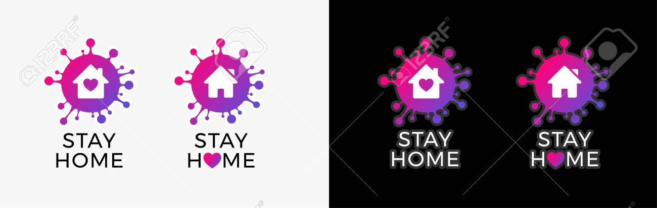 Stay home icon sticker for COVID-19 virus social media campaign. Coronavirus, COVID 19 protection logo with virus, house and heart - 146827640
