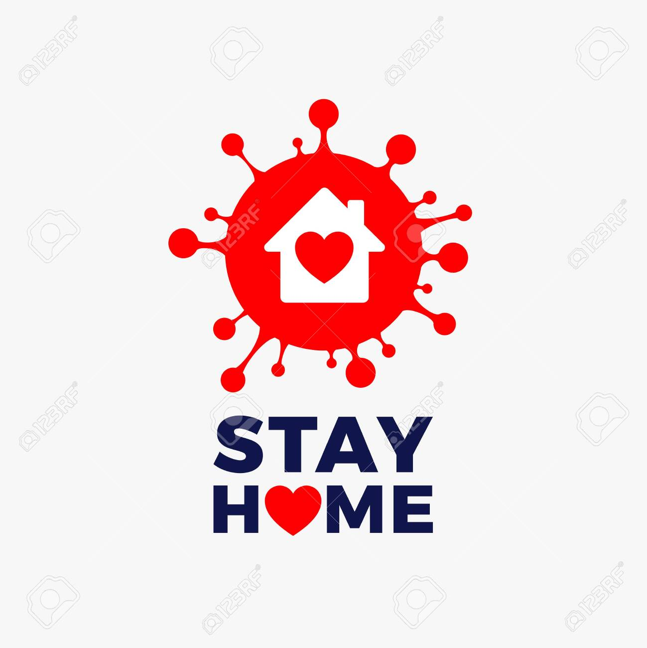 Stay home icon vector - red corona COVID 19 virus with house icon and heart inside and Stay Home text - vector illustration isolated on white background - 146827661
