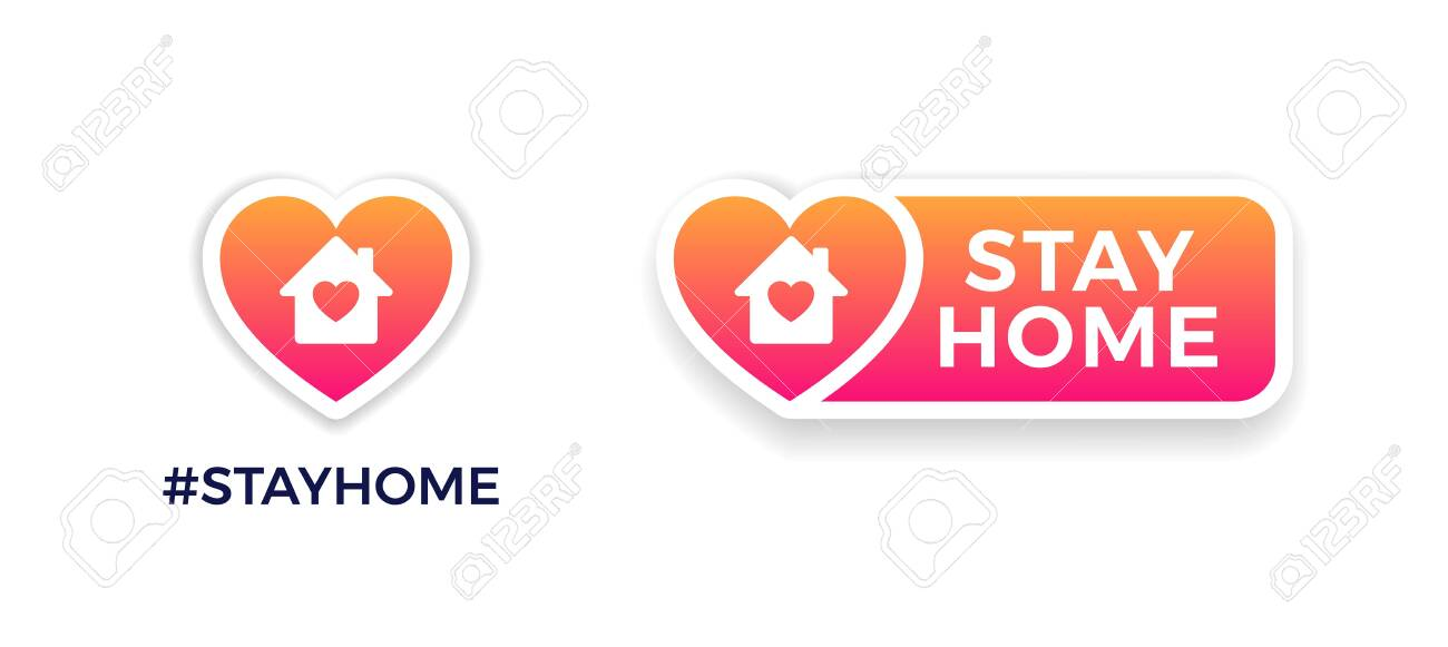 Stay home signs for social media. COVID-19 campaign to support self-isolation and quarantine. Vector icons of house, heart, Stay Home text on a button. Distancing measures to prevent virus spread. - 146827662