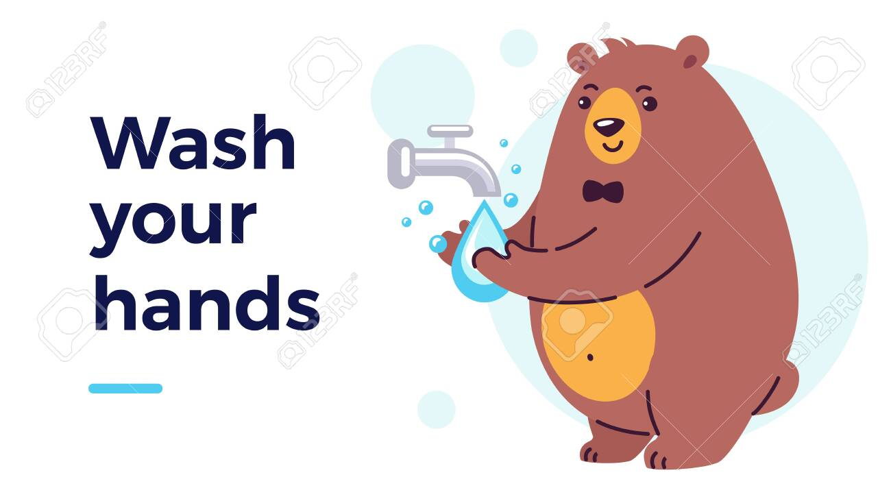 Happy smiling character washing hands under running water. Prevention measures for kids against virus and infection. Flat cartoon vector illustration hygiene concept - 146822244