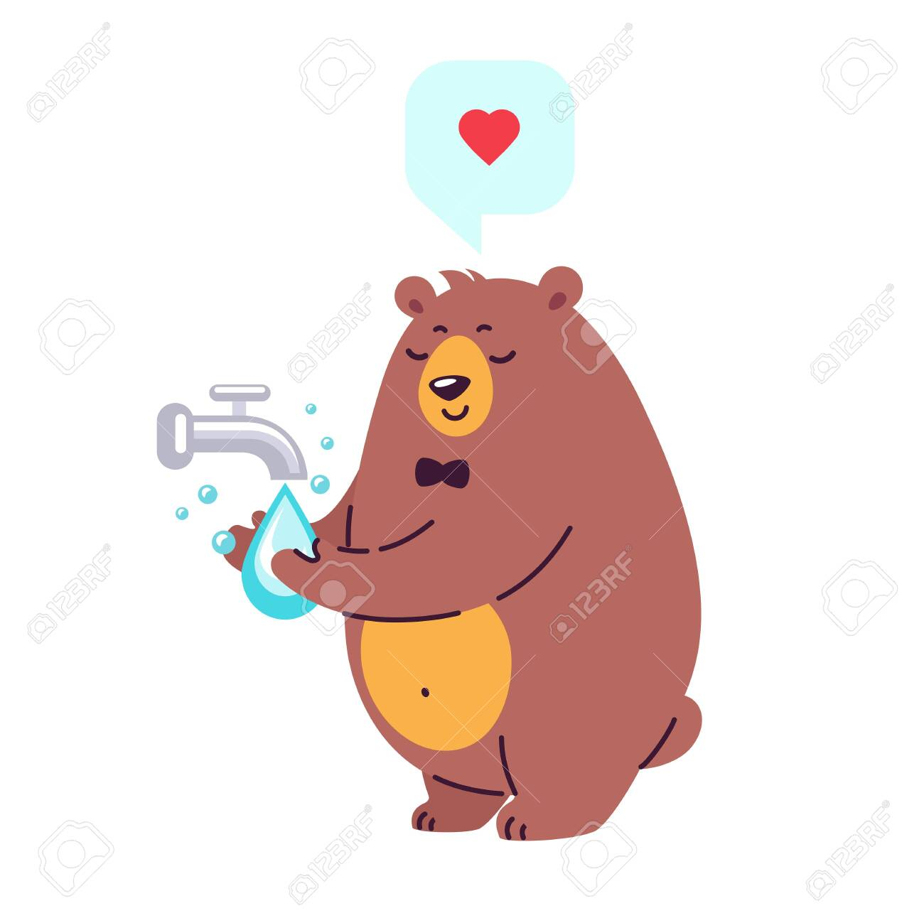 Smiling bear character washing hands under running water - vector illustration in cartoon flat style - 146822595